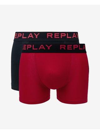 Boxerky pre mužov Replay - čierna, červená