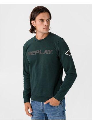 Mikiny bez kapuce pre mužov Replay - zelená