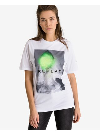 Tričká s krátkym rukávom pre ženy Replay - biela