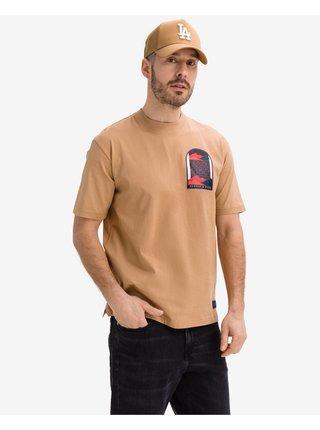 Tričká s krátkym rukávom pre mužov Scotch & Soda - hnedá, béžová