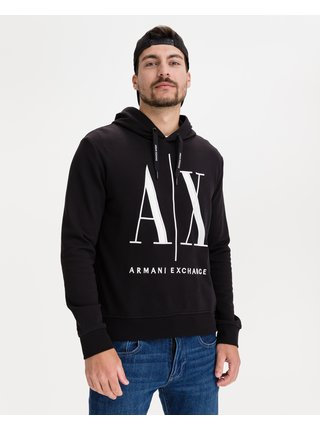 Mikiny s kapucou pre mužov Armani Exchange - čierna