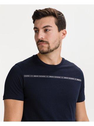 Tričká s krátkym rukávom pre mužov Armani Exchange - modrá