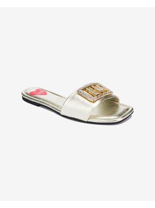Papuče, žabky pre ženy Love Moschino - zlatá, strieborná