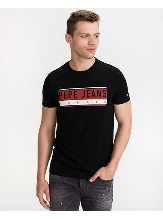 Tričká s krátkym rukávom pre mužov Pepe Jeans - čierna