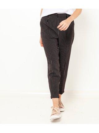 Černé pruhované zkrácené kalhoty CAMAIEU