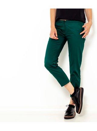 Tmavě zelené zkrácené straight fit kalhoty CAMAIEU