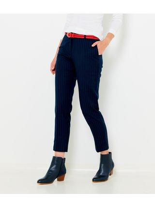 Tmavě modré pruhované zkrácené straight fit kalhoty CAMAIEU
