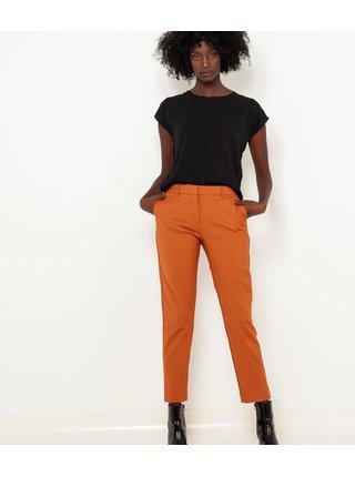 Tehlové skrátené straight fit nohavice CAMAIEU