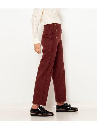 Hnědé široké zkrácené kalhoty CAMAIEU