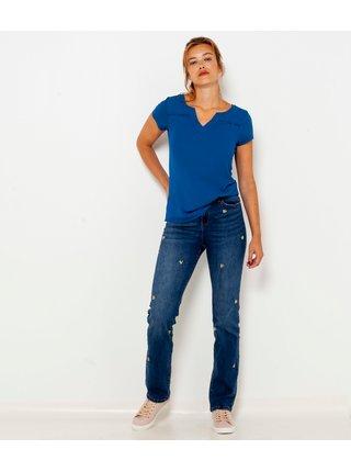 Modré staight fit džíny s ozdobnými prvky CAMAIEU