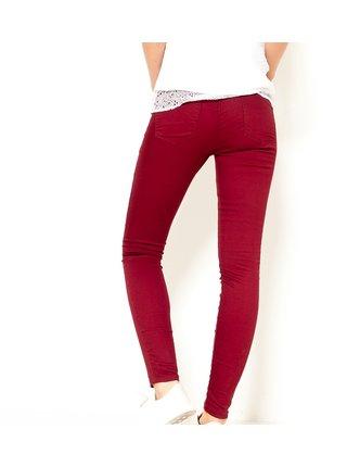 Vínové skinny fit kalhoty CAMAIEU