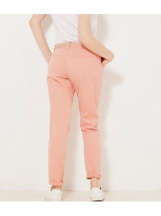 Svetloružové skrátené straight fit nohavice CAMAIEU