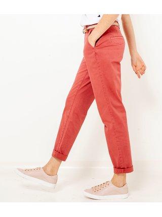 Korálové zkrácené straight fit kalhoty CAMAIEU