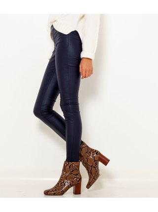 Tmavě modré koženkové kalhoty CAMAIEU