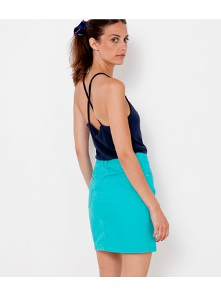 Tyrkysová džínová sukně CAMAIEU
