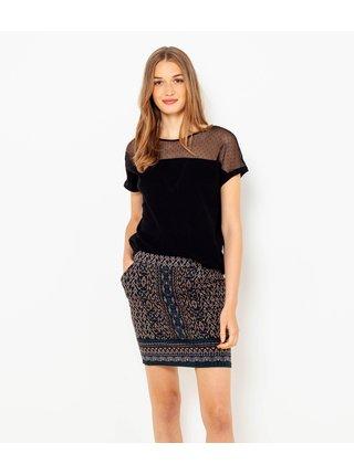 Tmavomodrá vzorovaná sukňa s vreckami CAMAIEU