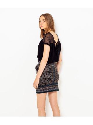 Tmavě modrá vzorovaná sukně s kapsami CAMAIEU