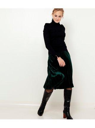 Tmavě zelená sametová plisovaná sukně CAMAIEU