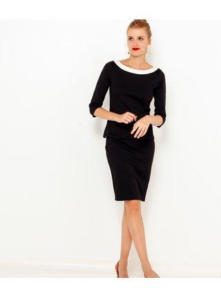 Černá pouzdrová sukně s lampasem CAMAIEU
