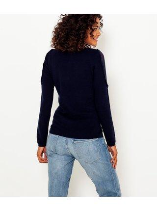 Tmavě modrý lehký svetr s průsvitnými rukávy CAMAIEU