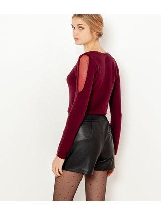 Vínový ľahký sveter s priesvitnými rukávmi CAMAIEU