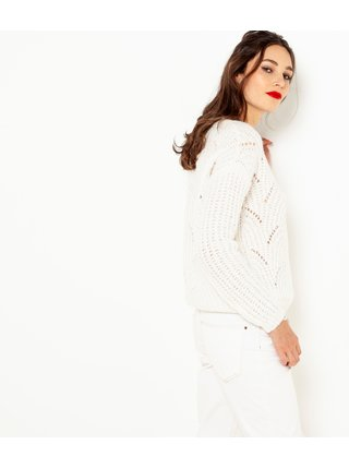 Bílý svetr s příměsí lnu CAMAIEU