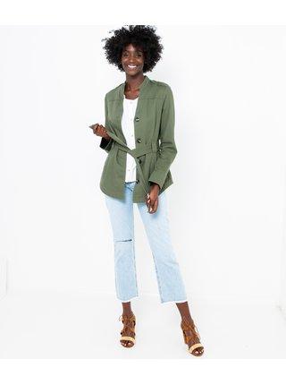 Zelená lehká bunda se zavazováním CAMAIEU