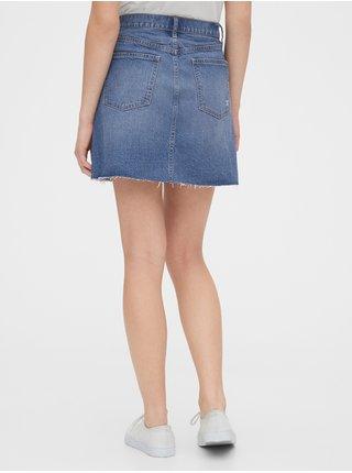 Modrá dámská sukně high rise distressed denim skirt