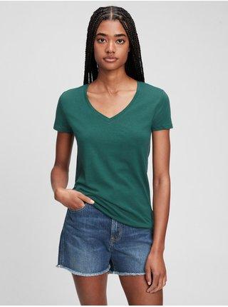 Zelené dámské tričko short sleeve solid t-shirt