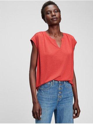Červené dámské tričko short sleeve zen neck
