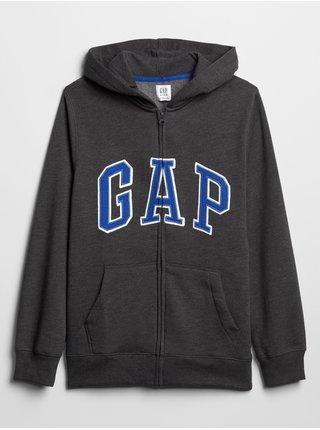Černá klučičí mikina GAP Logo zip hoodie
