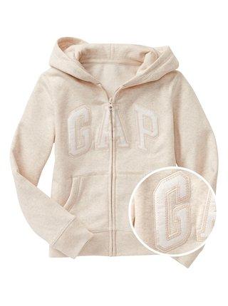 Béžová holčičí mikina GAP Logo zip hoodie in fleece