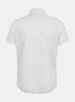 Bílá vzorovaná slim fit košile s krátkým rukávem Blend