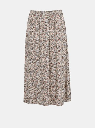 Růžovo-krémová květovaná midi sukně Jacqueline de Yong Staar