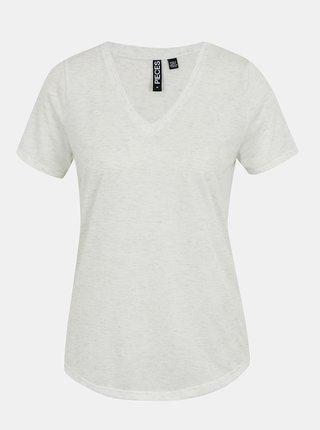 Světle šedé žíhané tričko Pieces Haylow