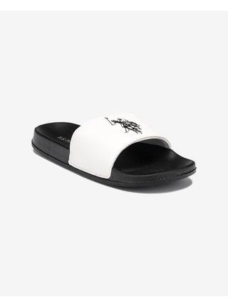 Sandále, papuče pre mužov U.S. Polo Assn. - čierna, biela