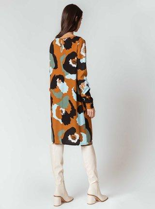 Hnedé vzorované šaty SKFK Aura