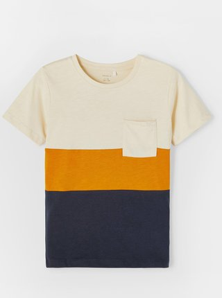Krémovo-modré pruhované chlapčenské tričko name it Laso