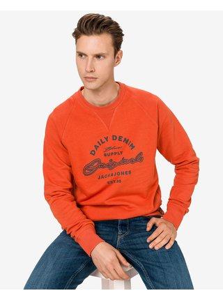 Mikiny bez kapuce pre mužov Jack & Jones - oranžová