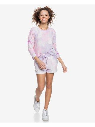 Tričká s dlhým rukávom pre ženy Roxy - ružová, fialová