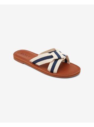 Papuče, žabky pre ženy Roxy - biela, hnedá