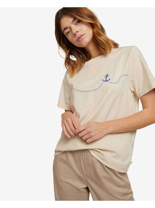 Tričká s krátkym rukávom pre ženy Tom Tailor - béžová