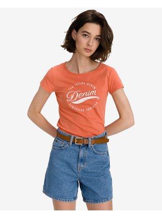 Tričká s krátkym rukávom pre ženy Tom Tailor Denim - oranžová