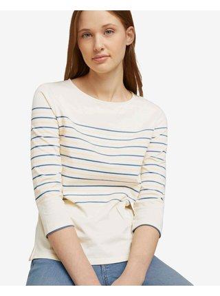 Tričká s krátkym rukávom pre ženy Tom Tailor - modrá, béžová