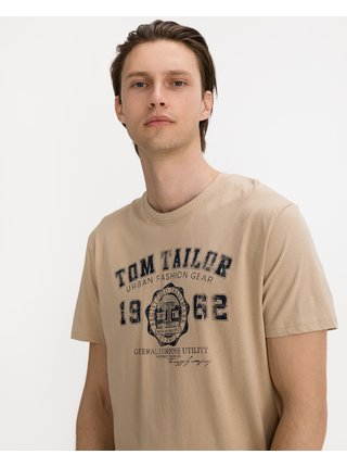 Tričká s krátkym rukávom pre mužov Tom Tailor - béžová