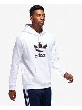 Mikiny s kapucou pre mužov adidas Originals - biela