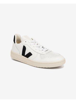 Černo-bílé pánské kožené tenisky Veja V-10 Leather