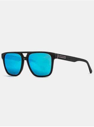 Horsefeathers TRIGGER brushed black/mirror blue sluneční brýle pilotky - černá