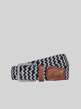 Černo-bílý pásek s koženými detaily Jack & Jones Spring