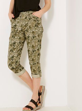 Zelené vzorované 3/4 kalhoty CAMAIEU